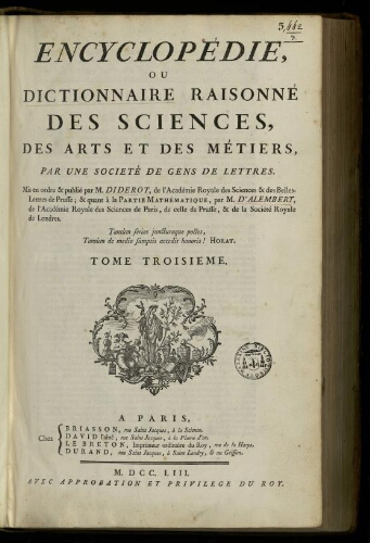 L'Encyclopédie. Volume 03. Texte : CH-CONS