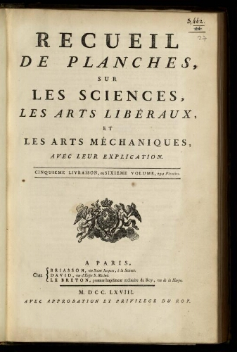 L'Encyclopédie. Volume 27. Planches 6