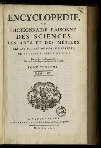 L'Encyclopédie. Volume 10. Texte : MAM-MY