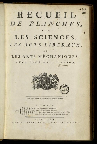 L'Encyclopédie. Volume 22. Planches 1