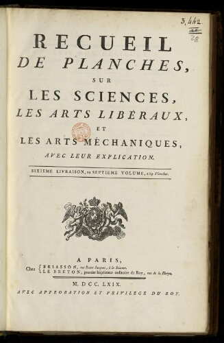 L'Encyclopédie. Volume 28. Planches 7