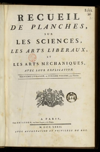 L'Encyclopédie. Volume 31. Planches 10